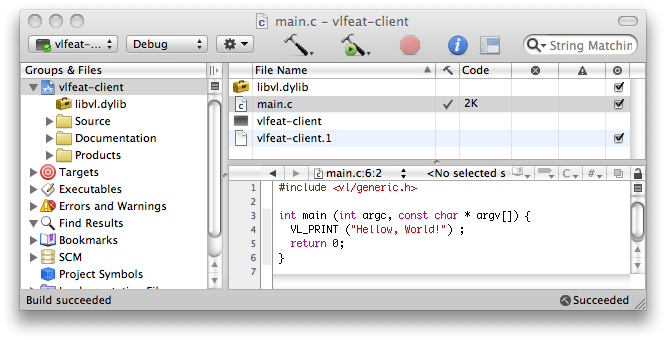 VLFeat - Download > Using from C > Xcode